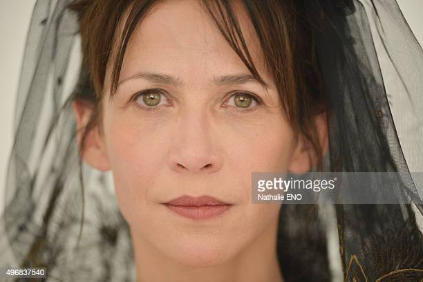 """Actress Sophie Marceau is photographed filming ARTE """"Une histoire d'ame"""" for Self Assignment on October 23, 2015 in Paris, France."""