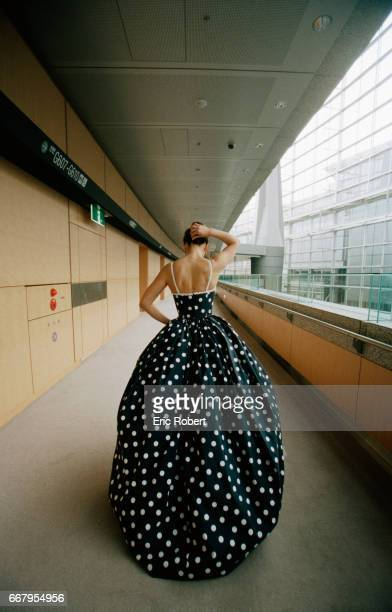 Actress Sophie Marceau wears a polka dot ball gown while in Tokyo to promote a new perfume Champs Elysses for the French perfume house Guerlain