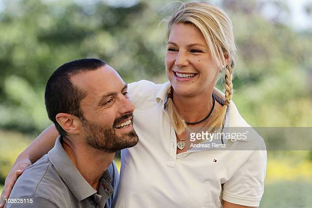 Actress Sophie Schuett and her partner Felix Seitz attend the BMW Adlon Golf Cup 2010 at Golf and Country Club Seddiner See on August 21 2010 in...