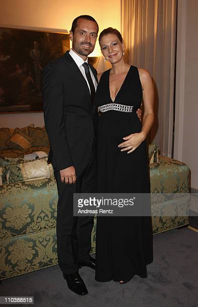 Actress Sophie Schuett and partner Felix Seitz attend the reception to the 150th anniversary of Italy unification at the Italian embassy to Germany...
