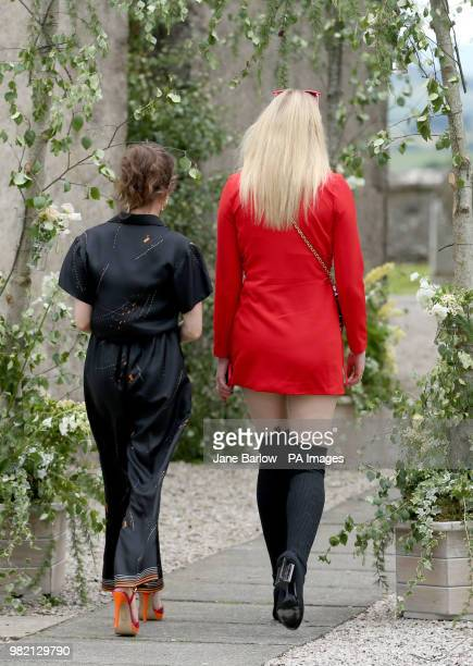 Actress Sophie Turner and Maisie Williams arrive at Rayne Church Kirkton of Rayne in Aberdeenshire for the wedding ceremony of Game Of Thrones stars...