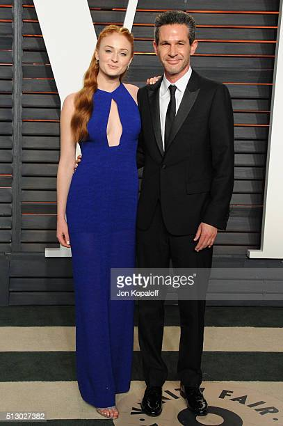 Actress Sophie Turner and Simon Kinberg attend the 2016 Vanity Fair Oscar Party hosted By Graydon Carter at Wallis Annenberg Center for the...