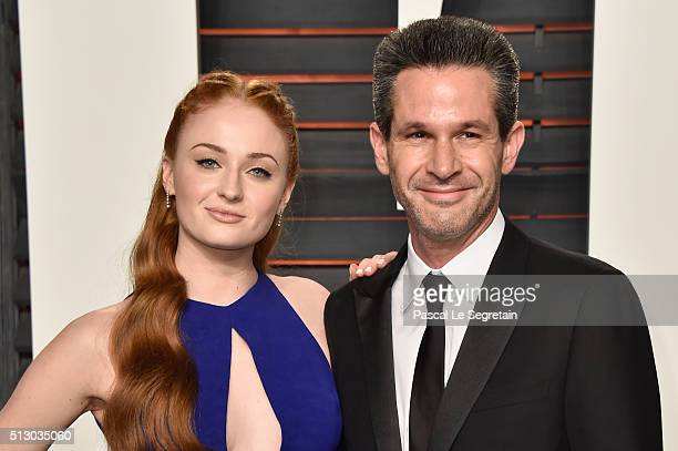 Actress Sophie Turner and Simon Kinberg attend the 2016 Vanity Fair Oscar Party Hosted By Graydon Carter at the Wallis Annenberg Center for the...