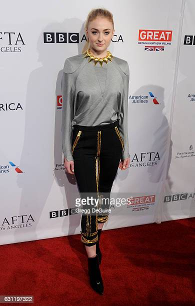 Actress Sophie Turner arrives at The BAFTA Tea Party at Four Seasons Hotel Los Angeles at Beverly Hills on January 7 2017 in Los Angeles California