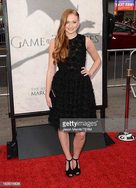 Actress Sophie Turner arrives at the premiere of HBO's 'Game Of Thrones' Season 3 at TCL Chinese Theatre on March 18 2013 in Hollywood California