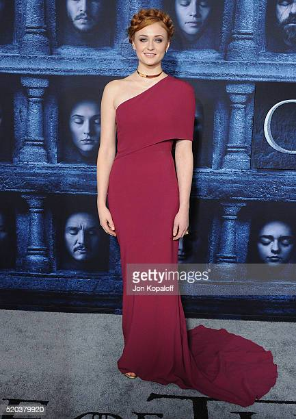 """Actress Sophie Turner arrives at the Premiere Of HBO's """"Game Of Thrones"""" Season 6 at TCL Chinese Theatre on April 10, 2016 in Hollywood, California."""