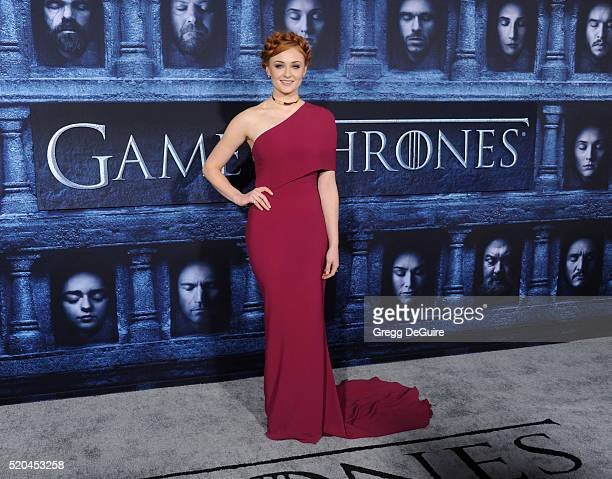 Actress Sophie Turner arrives at the premiere of HBO's 'Game Of Thrones' Season 6 at TCL Chinese Theatre on April 10 2016 in Hollywood California