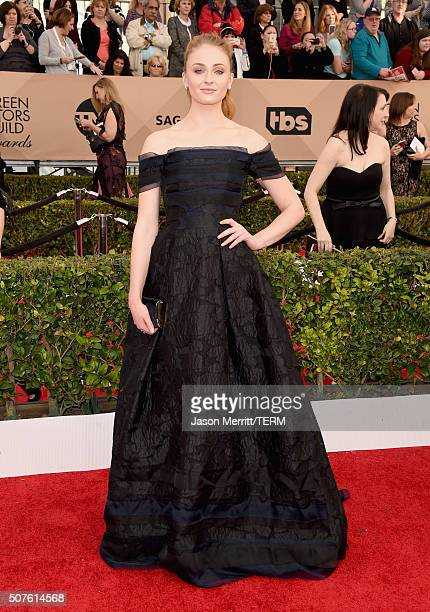 Actress Sophie Turner attends The 22nd Annual Screen Actors Guild Awards at The Shrine Auditorium on January 30 2016 in Los Angeles California...