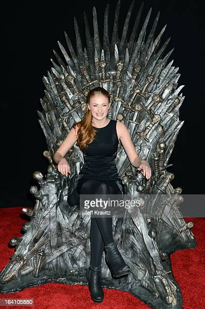 "Actress Sophie Turner attends the Academy of Television Arts & Sciences an evening with HBO's ""Game Of Thrones"" at TCL Chinese Theatre on March 19,..."