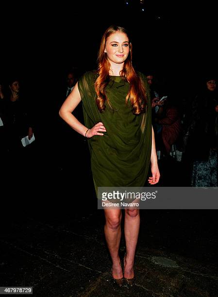 Actress Sophie Turner attends the Christian Siriano show during MercedesBenz Fashion Week Fall 2014 at Eyebeam Atelier on February 8 2014 in New York...