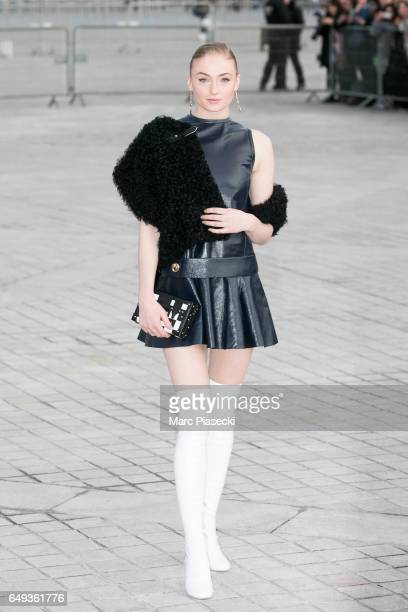 Actress Sophie Turner attends the Louis Vuitton show as part of the Paris Fashion Week Womenswear Fall/Winter 2017/2018 on March 7 2017 in Paris...