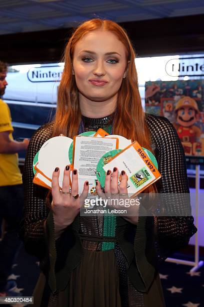 Actress Sophie Turner attends The Nintendo Lounge on the TV Guide Magazine yacht during ComicCon International 2015 on July 10 2015 in San Diego...