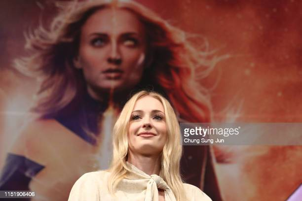 """Actress Sophie Turner attends the press conference for South Korean premiere of """"X-Men: Dark Phoenix"""" on May 27, 2019 in Seoul, South Korea."""