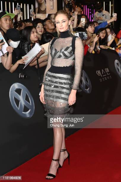 """Actress Sophie Turner attends the South Korean premiere of """"X-Men: Dark Phoenix"""" on May 27, 2019 in Seoul, South Korea."""