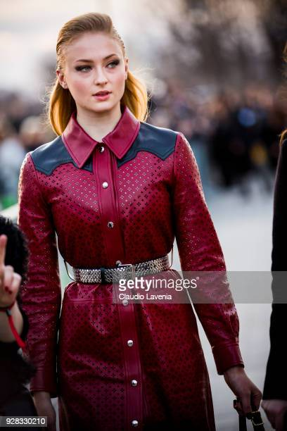 Actress Sophie Turner is seen in the streets of Paris before the Louis Vuitton show during Paris Fashion Week Womenswear Fall/Winter 2018/2019 on...