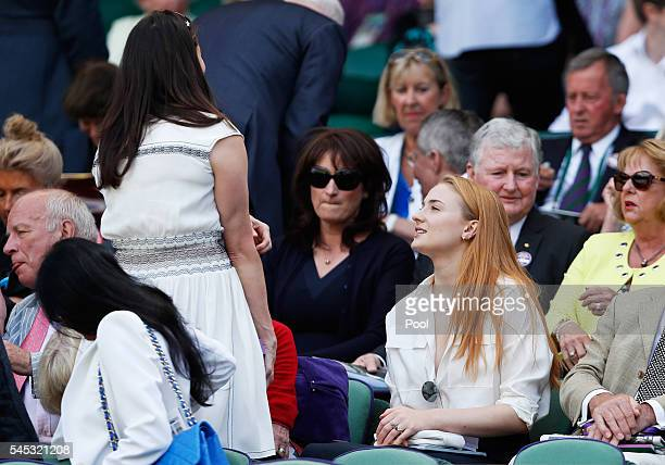 Actress Sophie Turner watches on from The Royal Box as Serena Williams of The United States plays Elena Vesnina of Russia during the Ladies Singles...