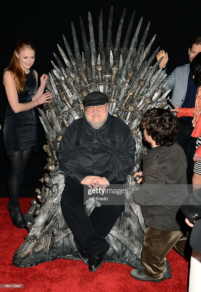 Actress Sophie Turner, writer George R.R. Martin and actor Peter Dinklage attend the Academy of Television Arts & Sciences an evening with HBO's 'Game Of Thrones' at TCL Chinese Theatre on March 19, 2013 in Hollywood, California.