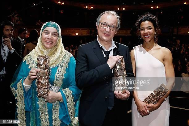 Actress Soria Zeroual Director Philippe Faucon and Actress Zita Hanrot poses with them Cesar Award for 'Fatima' during the Cesar Film Award 2016 at...