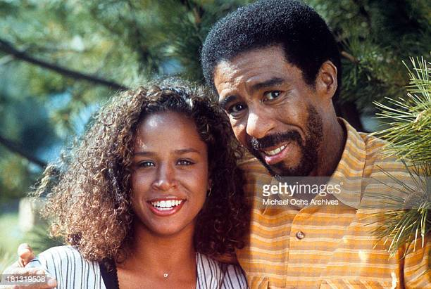 Actress Stacey Dash and actor Richard Pryor on set of the Warner Bros movie Moving in 1988