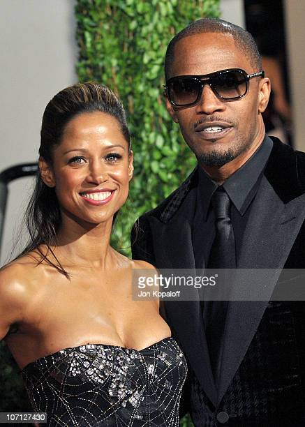 Actress Stacey Dash and Jamie Foxx arrive at the 2010 Vanity Fair Oscar Party held at Sunset Tower on March 7 2010 in West Hollywood California