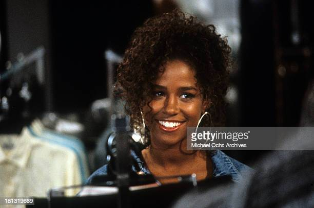 Actress Stacey Dash on set of the Warner Bros movie ' Moving' in 1988