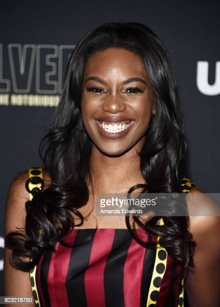 Actress Stacy Ike arrives at the premiere of USA Network's 'Unsolved The Murders of Tupac and The Notorious BIG' at Avalon on February 22 2018 in...