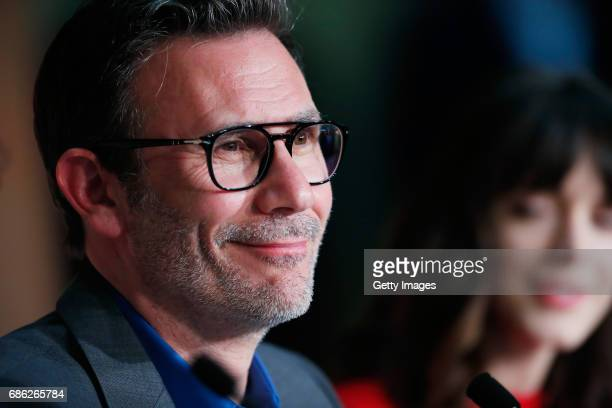 Actress Stacy Martin and director Michel Hazanavicius attend the 'Redoubtable ' Press Conference during the 70th annual Cannes Film Festival at...