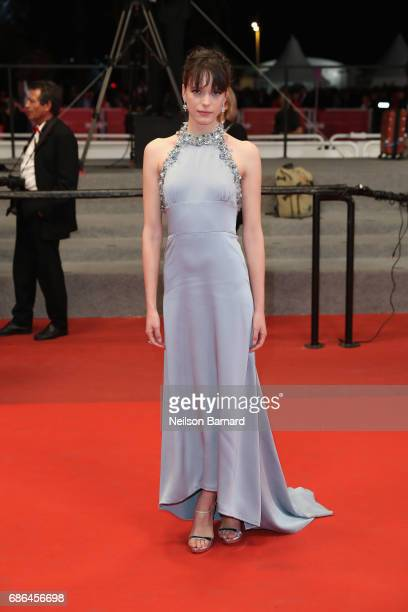 Actress Stacy Martin departs after the 'Redoubtable ' screening during the 70th annual Cannes Film Festival at Palais des Festivals on May 21 2017 in...