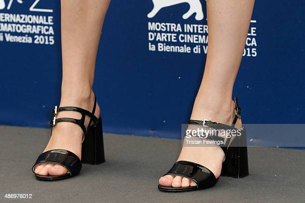Actress Stacy Martin detail attends a photocall for 'The Childhood Of A Leader' during the 72nd Venice Film Festival at Palazzo del Casino on...