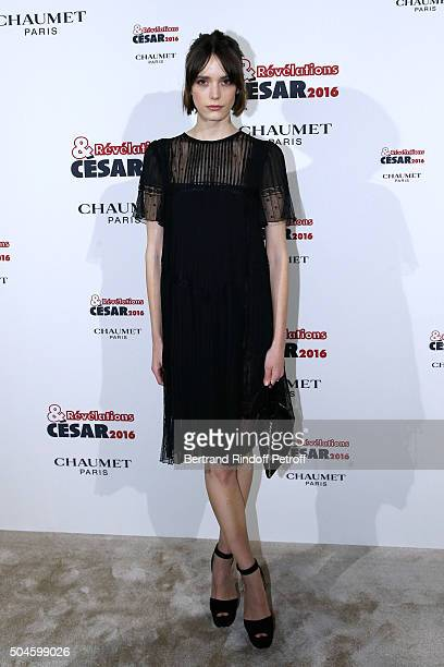Actress Stacy Martin dressed in Prada and nominated for 'Taj Mahal' attends the 'Cesar Revelations 2016' Photocall at Chaumet followed by a dinner at...
