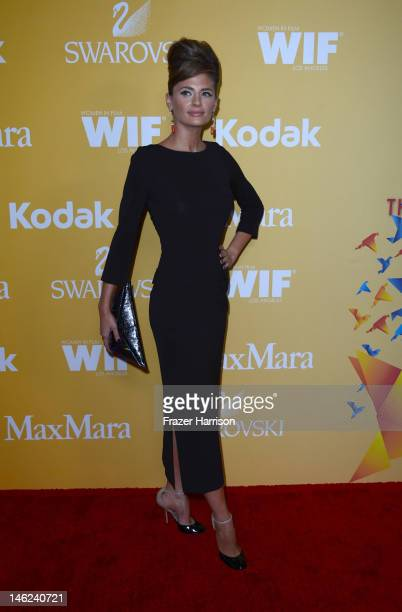 Actress Stana Katic arrives at the 2012 Women In Film Crystal Lucy Awards at The Beverly Hilton Hotel on June 12 2012 in Beverly Hills California