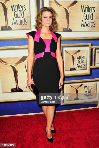 Actress Stana Katic arrives at the 2014 Writers Guild Awards LA Ceremony at JW Marriott Los Angeles at LA LIVE on February 1 2014 in Los Angeles...