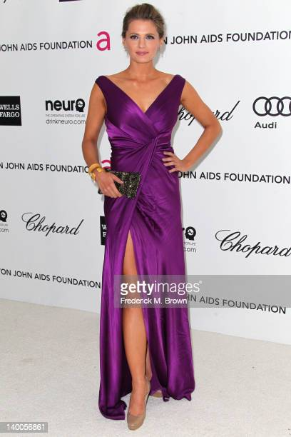 Actress Stana Katic arrives at the 20th Annual Elton John AIDS Foundation's Oscar Viewing Party held at West Hollywood Park on February 26 2012 in...