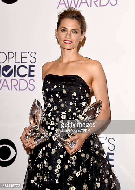 Actress Stana Katic poses in the press room at The 41st Annual People's Choice Awards at Nokia Theatre LA Live on January 7, 2015 in Los Angeles,...