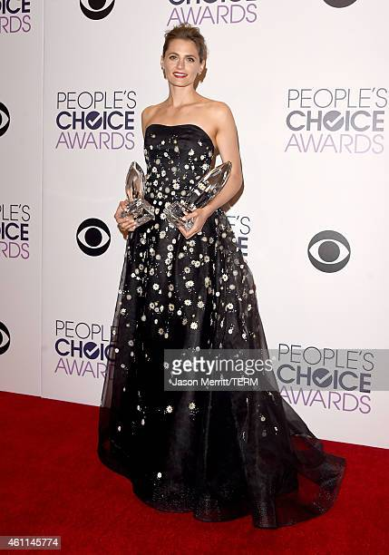 Actress Stana Katic poses in the press room at The 41st Annual People's Choice Awards at Nokia Theatre LA Live on January 7 2015 in Los Angeles...