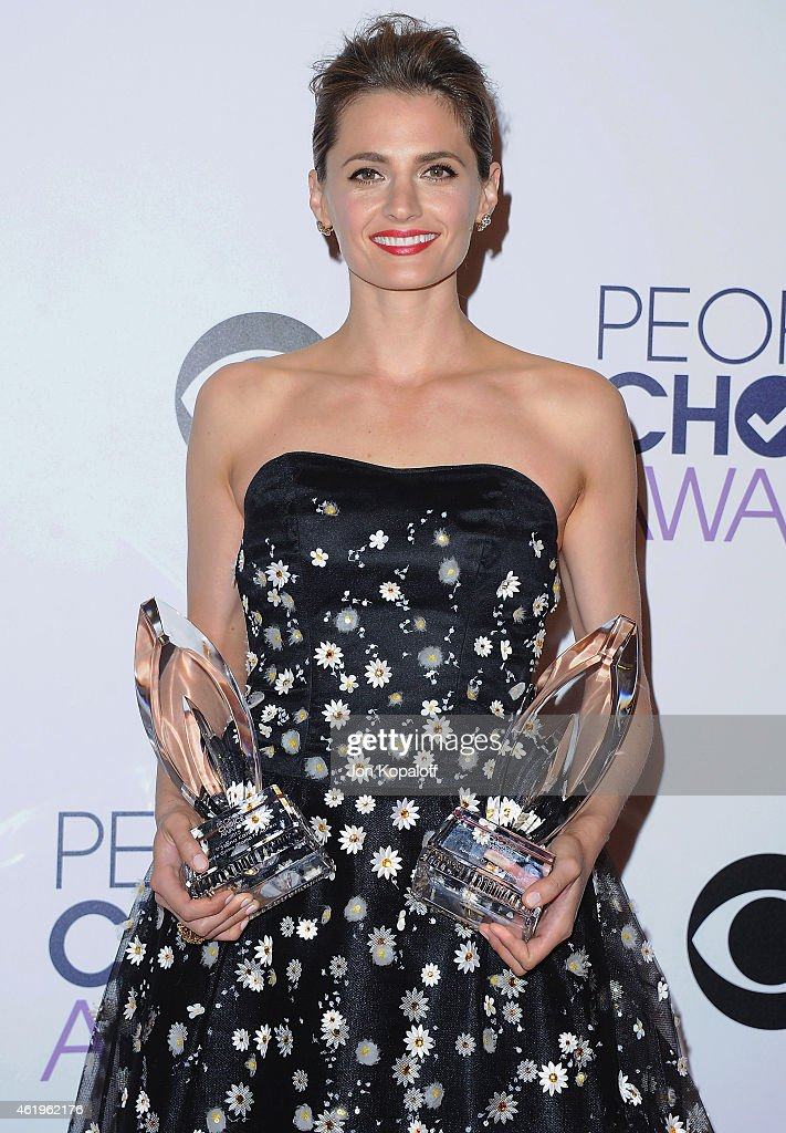 Actress Stana Katic poses in the press room at The 41st Annual People's Choice Awards at Nokia Theatre L.A. Live on January 7, 2015 in Los Angeles, California.