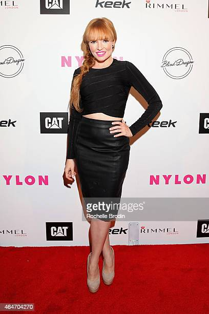 Actress Stef Dawson attends NYLON Magazine's Spring Fashion Issue Celebration hosted by Rita Ora at Blind Dragon on February 27, 2015 in West...