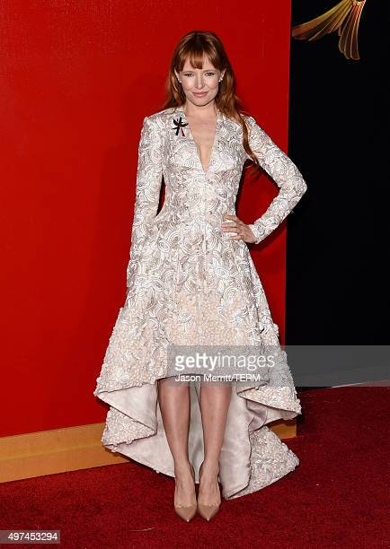Actress Stef Dawson attends the premiere of Lionsgate's The Hunger Games Mockingjay Part 2 at Microsoft Theater on November 16 2015 in Los Angeles...