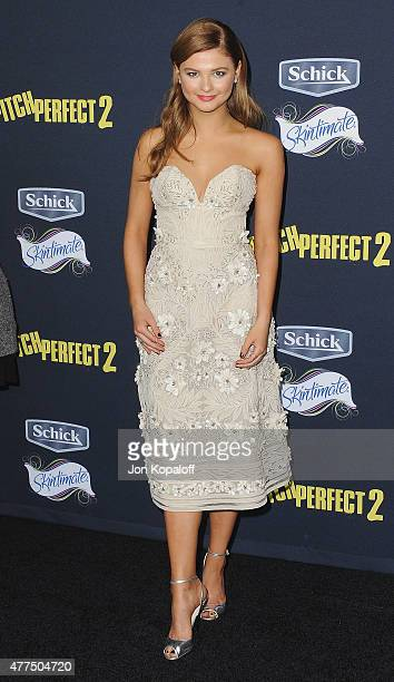 Actress Stefanie Scott arrives at the Los Angeles Premiere Pitch Perfect 2 at Nokia Theatre LA Live on May 8 2015 in Los Angeles California