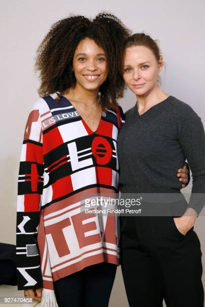 Actress Stefi Celma and Stylist Stella McCartney pose after the Stella McCartney show as part of the Paris Fashion Week Womenswear Fall/Winter...