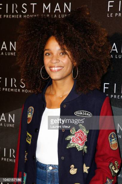 """Actress Stefi Celma attends """"First Man"""" Paris Premiere at Cinema UGC Normandie on September 25, 2018 in Paris, France."""