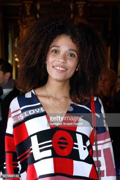 Actress Stefi Celma attends the Stella McCartney show as part of the Paris Fashion Week Womenswear Fall/Winter 2018/2019 on March 5, 2018 in Paris,...