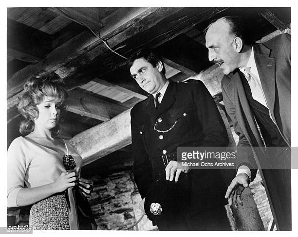 Actress Stella Stevens actor James Booth and Lionel Jeffries on set of the The Secret of My Success in 1965