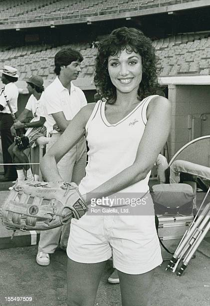 Actress Stepfanie Kramer attends 25th Annual Hollywood Stars Night Celebrity Baseball Game on July 16 1983 at Dodger Stadium in Los Angeles California