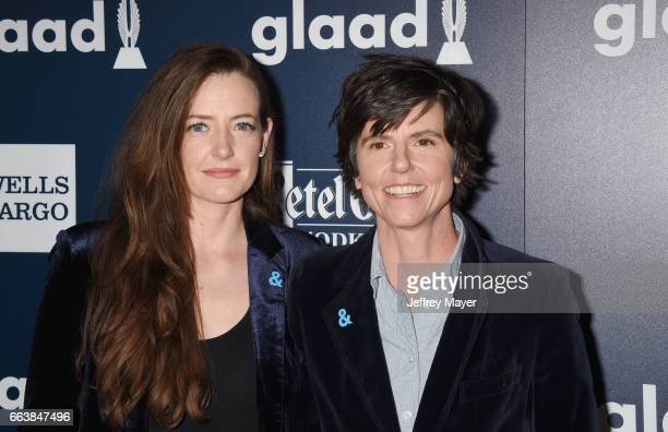 Actress Stephanie Allynne and comedian Tig Notaro attend the 28th Annual GLAAD Media Awards in LA at The Beverly Hilton Hotel on April 1 2017 in...