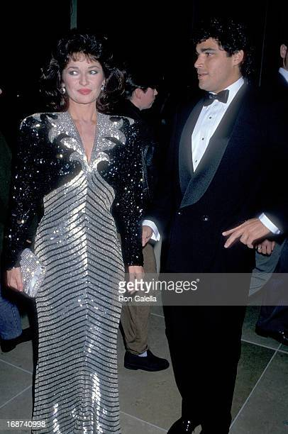 Actress Stephanie Beacham and boyfriend Steve Silver attend the Sixth Annual Soap Opera Digest Awards on January 14 1990 at the Beverly Hilton Hotel...