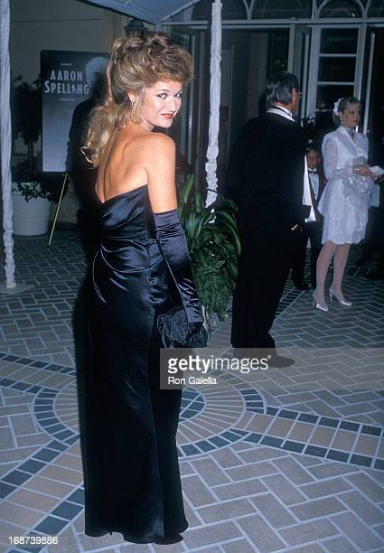 Actress Stephanie Beacham attends the Museum of Broadcasting Honors Aaron Spelling After Party on September 7 1988 at the Four Seasons Hotel in...