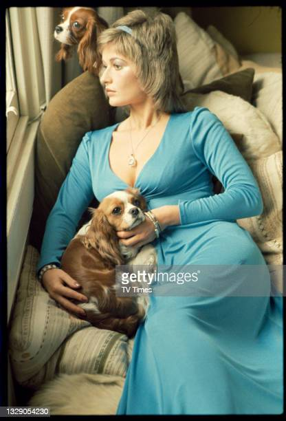 Actress Stephanie Beacham photographed with her two King Charles Spaniels, circa 1974.