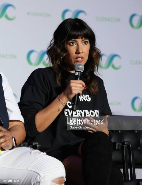 """Actress Stephanie Beatriz speaks at the """"Queer Women of Color Representation in the Media"""" panel during the ClexaCon 2018 convention at the Tropicana..."""
