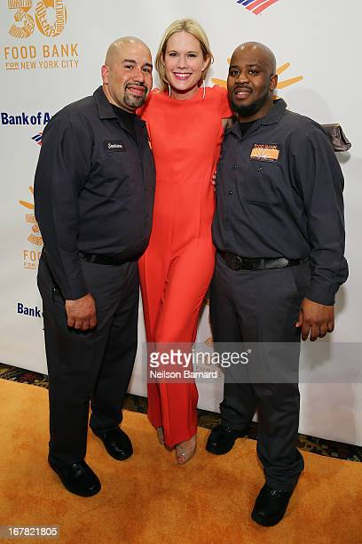Actress Stephanie March poses with Santana and Hace from Food Bank For New York City at the Food Bank For New York City's CanDo Awards celebrating 30...